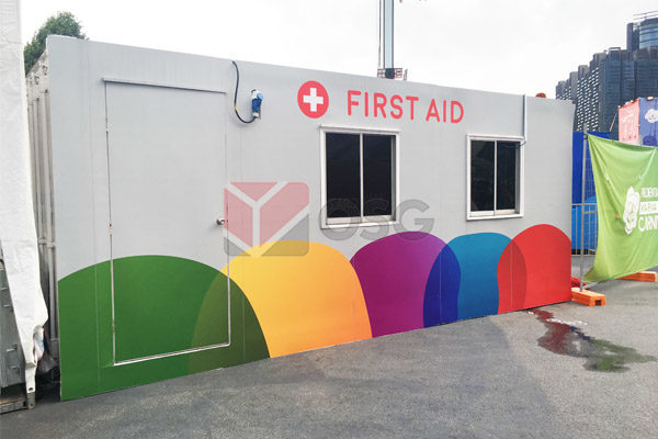 Office Container as First Aid Booth